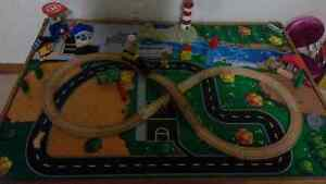 Train Table with extra trains, tracks and pieces.