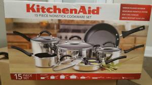 NEW Kitchen Aid 15 pc cookset