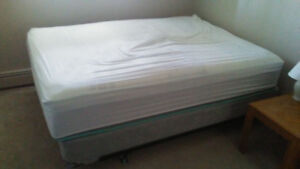 Queen sized bed (box spring, memory foam mattress, frame)