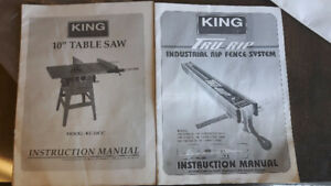 "king industrial table saw 10"" with tru-rip industrial rip fence"