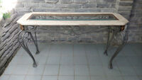MARBLE TOP IRON BASE HALL CONSOLE TABLE