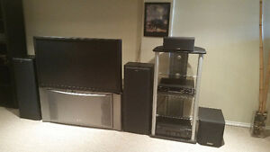 51'Hitachi tv. Kenwood stereo system with subwoofer