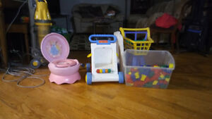 potty that makes flush sound, blocks, push toys