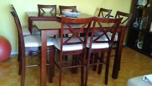 High Top Dinette Set with 8 Chairs and Lazy Suzy