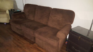 Reclining sofa and chair, stationary loveseat