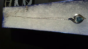 10k white gold chain and pendant