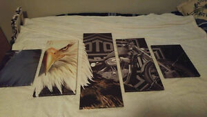 Brand New 5 panel Harley Davidson canvas pictures