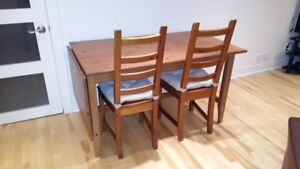 Table extensible +chaises bois / Extendable Wood Table+Chairs