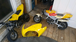 Two Running 49cc Pocket Bikes $150 each*