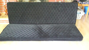 Custom Made Black Velour Diamond tuck van or Camper Bed/Sofa.