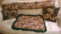 Bear motif Crib items and throw pillows