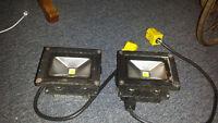 2 L.E.D. flood lights. rated at 200 watt. burns only 10 watts.