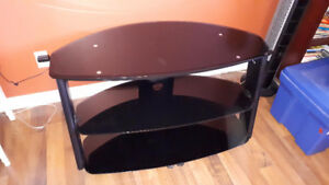 Modern Black Glass TV Stand for Flat Screens
