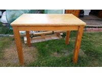Solid Chunky Pine Table with Removable Legs & x2 Pine Chairs