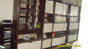 WALL UNIT WITH BOOK SHELVES, BAR AND GLASS DOORS $250