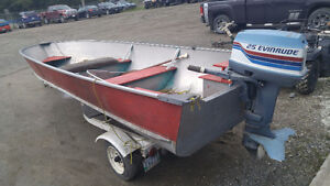 16FT BOAT W 25HP EVINRUDE