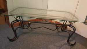 New Price - Exquisite Glass & Wrought Iron Coffee Table