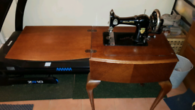 Jones antique sewing machine and table whiteley store