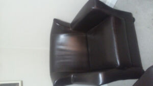 Faux leather dark brown chair