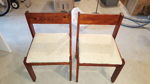 2X Real Wooden Chairs with Fabric