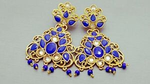 Indian Bollywood Blue Kundan Rhinestone Earrings Set.
