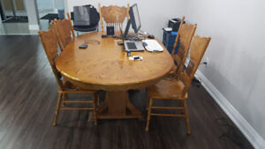 Wood Dining Table with 6 Chairs $400