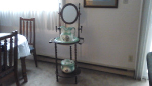 Antique  Basin and jug with a chamber potty on a stand
