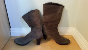 High-heeled fur boots - very good condition