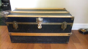 old blue wood and metal storage trunk