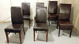 6 Faux Leather Parsons Dining Chairs