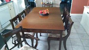 Goliath Style Table With 8 Harp Back Chairs and China Cabinet Kitchener / Waterloo Kitchener Area image 1