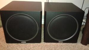 "Two 12"" Polk audio power subs (broken)"