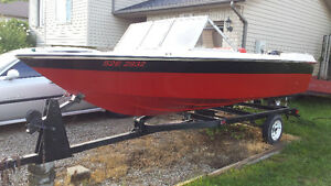 16' boat, motor and trailer