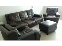 Real leather dark brown 3 piece suite