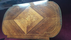 Antique Wood Inlay Table