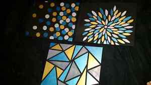 Teal, Silver & Gold Canvas Paintings Cambridge Kitchener Area image 5