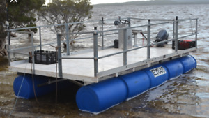 Fishing boat pontoon boat swim platform dock float