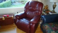 Lazy Boy recliner, leather burgundy excellent condition