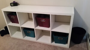 Shelf with colorful bins and 2 end tables!!