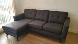 Sofa with flexible lounger