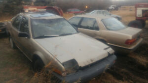 4 late 80s Honda Accords. They all more or less ran before being
