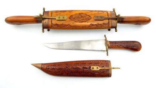 Vintage Ornate 2 Knife & Fork Hand Carved Set, Wood-Brass India Middle East