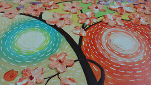 CherryBlossom3D Flowers Painting on Textured Abstract Background London Ontario image 3
