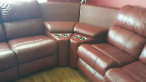 REDUCED!!! Red Leather Sectional Entertainment Chesterfield Unit St. John's Newfoundland image 3