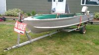 14' Aluminum boat, 9.9hp Johnson and trailer