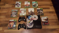 250gb xbox 360 2 controllers 15 games
