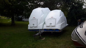 Double snowmobile trailer with pods for sale