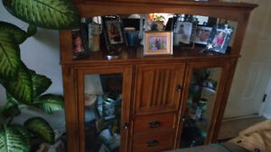 Wood and glass hutch for sale
