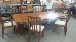 Custom Oak Table , Side Board and   Chairs, Two Leaves