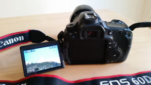 Canon 60D with EF-S 18-135 mm lens, extras